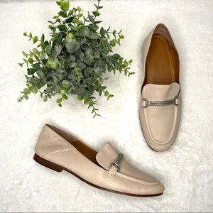 Patricia Nash Fia Leather Loafers Bone Beige Tan Chain 9.5